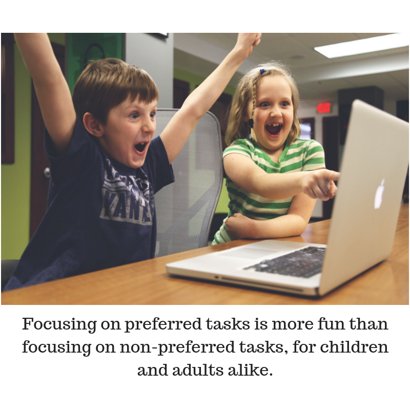 """Two children are shown smiling and pointing at a computer. THe caption reads, """"Focusing on preferred tasks is more fun than focusing on non-preferred tasks, for children and adults alike."""""""