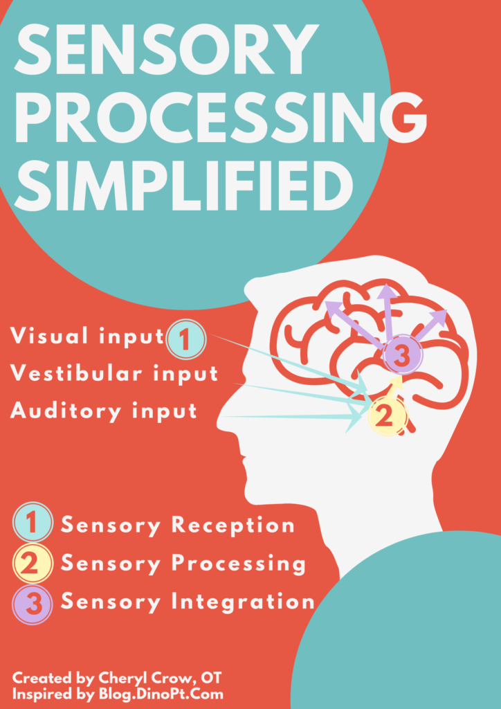 """The poster reads, """"Sensory processing simplified."""" Arrows are drawn from visual, vestibular and auditory input towards the human brain. This is labelled as """"sensory reception."""" Signals are then relayed to the """"sensory processing"""" center of the brain. They are then relayed to the """"sensory integration"""" areas of the brain."""